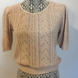 VINTAGE knit sweater slight puff sleeve versatile